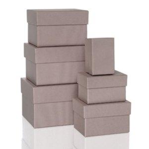 Rössler BOXLINE Kartonagen, rechteckig, div. Größen, taupe, 6 Stück, 1344453490