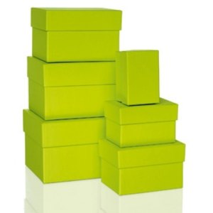 Rössler BOXLINE Kartonagen, rechteckig, div. Größen, limette, 6 Stück,1344453320