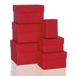 Rössler BOXLINE Kartonagen, rechteckig, div. Größen, rot, 6 Stück, 1344453360