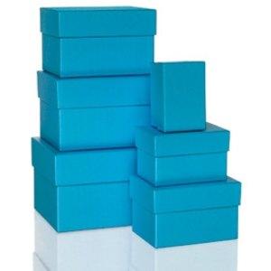 Rössler BOXLINE Kartonagen, rechteckig, div. Größen, pacific, 6 Stück,1344453480
