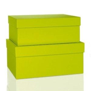 Rössler BOXLINE Kartonagen, rechteckig, div. Größen, limette, 2 Stück,1345453320