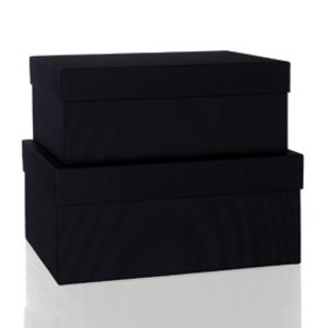 Rössler BOXLINE Kartonagen, rechteckig, div. Größen, schwarz, 2 Stück,1345453700