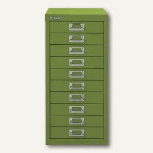 Bisley Schubladenschrank Basis 10er, H 590 x B 278 x T 380 mm, grün, L2910-604
