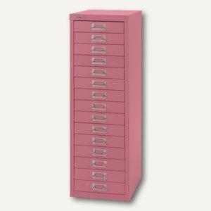 Bisley Schubladenschrank Basis 15er, H 857 x B 278 x T 380mm, pink, L3915-601