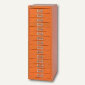 Bisley Schubladenschrank Basis 15er, H 857 x B 278 x T 380mm, orange, L3915-603