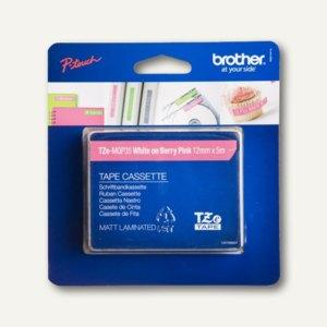 Brother Beschriftungsband 12 mm, weiß auf pink, TZe-MQP35