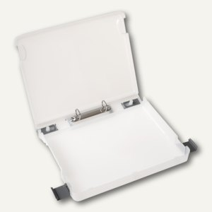 Hardcover Dokumenten-Box m. 2-Ringmechanik, DIN A4, Rücken 45 mm, transparent, 3