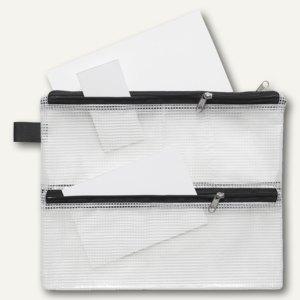 Mehrzweck-Reißverschluss-Beutel, DIN A5-A7, 4 Kammern, schwarz, 20 St., 40444-30