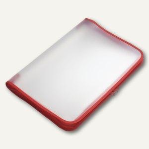 Konferenzmappe Reißverschluss, PP, DIN B5, 30 mm Rücken, transparent-rot, 2 Stüc
