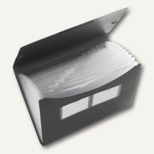 FolderSys Fächertasche A4, PP, 12 Taschen, anthrazit, 10 Stück, 70001-34