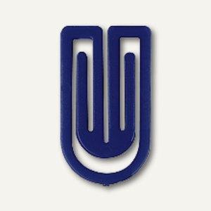 Laurel Kunststoff-Büroklammern King Klips, 75 mm, blau, 100 Stück, 1350-30