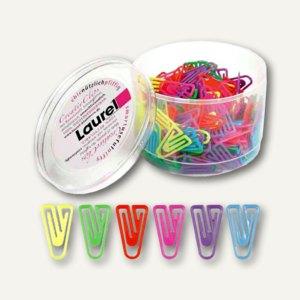 Kunststoff-Büroklammern LaurelClip, 30mm, leuchtfarbig sortiert, 250 St., 1293-9
