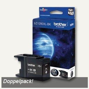 Brother Tintenpatrone schwarz, Doppelpack, 2 x ca. 2.400 Seiten, LC1280XLBK2DR