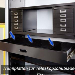 Bisley Trennplatten für Teleskopschublade, schwarz, 3 Stück, ET4DW4DP3PS-333