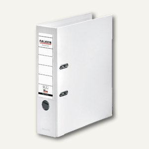 Falken Ordner, DIN A4, PP, Rücken 80 mm, Wechselfenster, weiß, 11285525