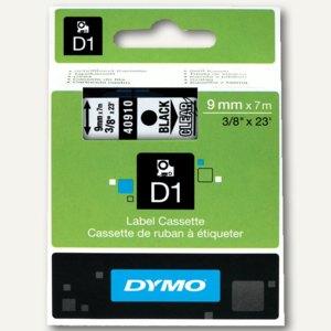 Dymo D1 Etikettenband, 9 mm x 7 m, schwarz auf transparent, S0720670