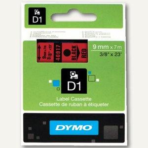 Dymo D1 Etikettenband, 9 mm x 7 m, schwarz auf rot, S0720720