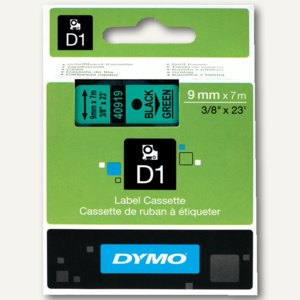 Dymo D1 Etikettenband, 9 mm x 7 m, schwarz auf grün, S0720740