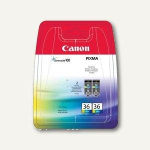 Canon Tintenpatrone CLI36, 3-farbig, Doppelpack, 1511B018