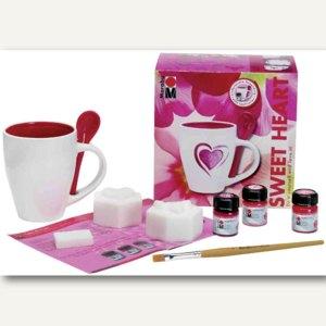 Porzellan-Tassenset Sweet Heart inkl. Porzellanfarbe