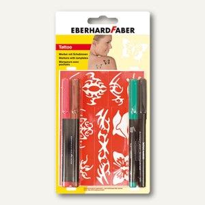 Artikelbild: Tattoo-Marker Set inkl. 9 Schablonen und 4 Tintenfarben