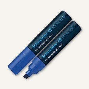 Schneider Permanent-Marker Maxx 250, Strichst.: 2 + 7mm, Keilspitze, blau,125003