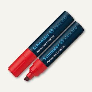 Schneider Permanent-Marker Maxx 250, Strichst.: 2 + 7mm, Keilspitze, rot, 125002