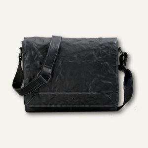 Pride & Soul Umhängetasche STORM, Notebook- und iPad-Fach, Leder, schwarz, 47169