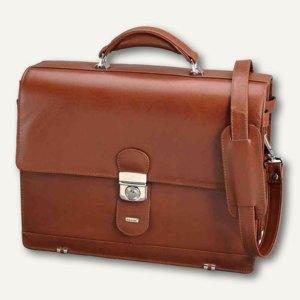Alassio Aktentasche MOCCA, Schultergurt, Laptopfach, Leder, cognac, 47124