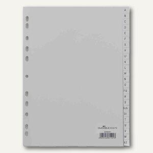 Durable Register DIN A4, geprägte Taben, A-Z, PP, 24-teilig, grau, 6508-10