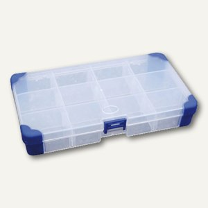 Aufbewahrungsbox, B 200 x H 30 x T 110 mm, Griff, Fächereinsatz, transparent, JA