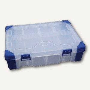 Aufbewahrungsbox, B 240 x H 60 x T 170 mm, Griff, Fächereinsatz, transparent, JA