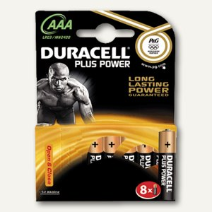 Duracell Batterien DUR Plus Power, Typ AAA, 8 Stück, DUR018549
