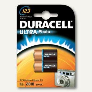 Duracell Photobatterie CR123, 84x119x19 mm, 2 Stück, DUR020320