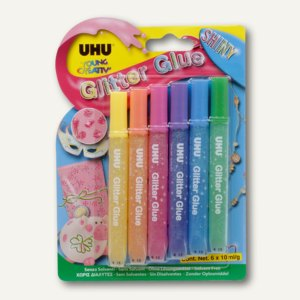 "UHU Young Creativ' Glitter Glue ""Shiny"", 6 x 10 ml, 39110"