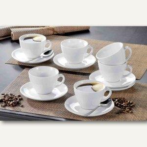 """Esmeyer Bistro-Tassen """"Cappuccino"""", 0.30 l, Porzellan, weiß, 6 Stück, 433-213"""