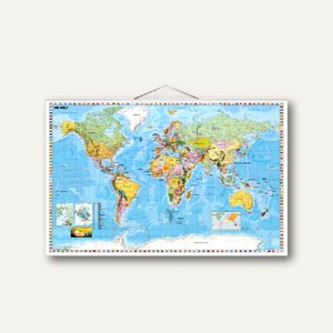 Stiefel Weltkarte politisch, 134 x 87 cm, laminiert, beschreibbar, rahmenlos