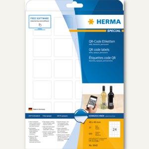 Herma QR-Code Etiketten, 40 x 40 mm, quadratisch, weiß, 600 Stück, 9642