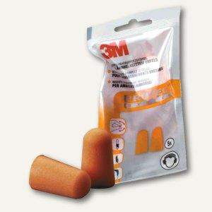3M Einweg-Gehörschutzstöpsel im Beutel, 37 dB, Schaumstoff, 5 Paar, orange,1100C