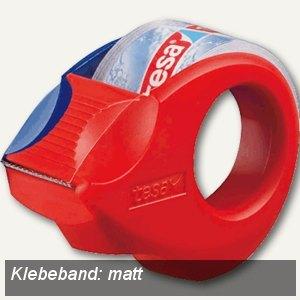 Tesa Klebebandabroller mini, matt-unsichtbar, 10m:19mm, Gehäuse rot/blau, 57856