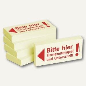 """officio Haftnotizen bedruckt: """"Bitte hier Firmenstempel und Unterschrift"""", 5 St."""