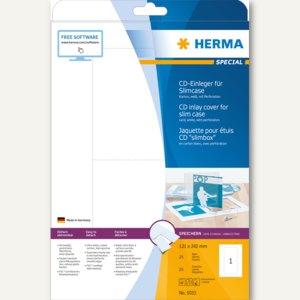 Herma CD-Einleger für Slimcase, 121x242 mm, weiß, 25 St., 5033