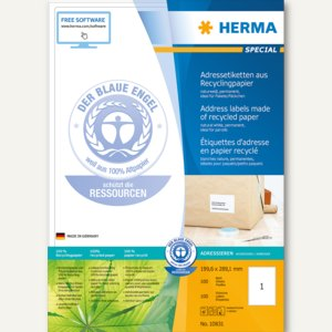 "Herma Universal-Etiketten ""Recycling"", 199.6 x 289.1 mm, weiß, 100 Stück, 10831"