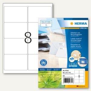 "Herma Universal-Etiketten ""Recycling"", 99.1 x 67.7 mm, weiß, 800 Stück, 10827"