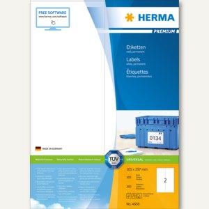 """Herma Universal-Etiketten """"PREMIUM"""", 105 x 297 mm, Rand, weiß, 200 Stück, 4658"""