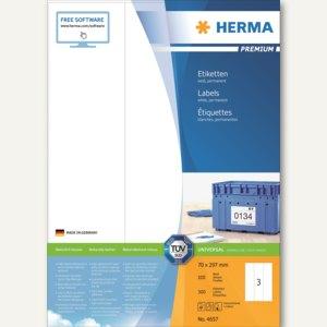 """Herma Universal-Etiketten """"PREMIUM"""", 70 x 297 mm, Rand, weiß, 300 Stück, 4657"""