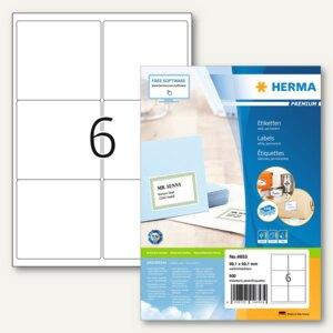 """Herma Universal-Etiketten """"PREMIUM"""", 99.1 x 93.1 mm, Rand, weiß, 600 Stück, 4653"""