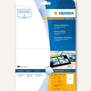 Herma Hochglanz-Etiketten SPECIAL, 199.6x143.5mm, glänzend, weiß, 50 Stück, 4915