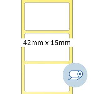 Rollenetiketten - 42x15 mm, Wicklung außen, seidenmatt, weiß, 5.000St., 4061