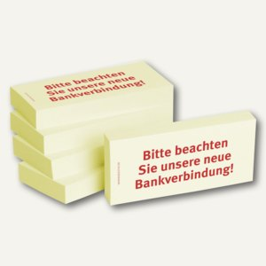 """Haftnotizen bedruckt: """"Bitte beachten Sie unsere neue Bankverbindung"""", 5 St."""